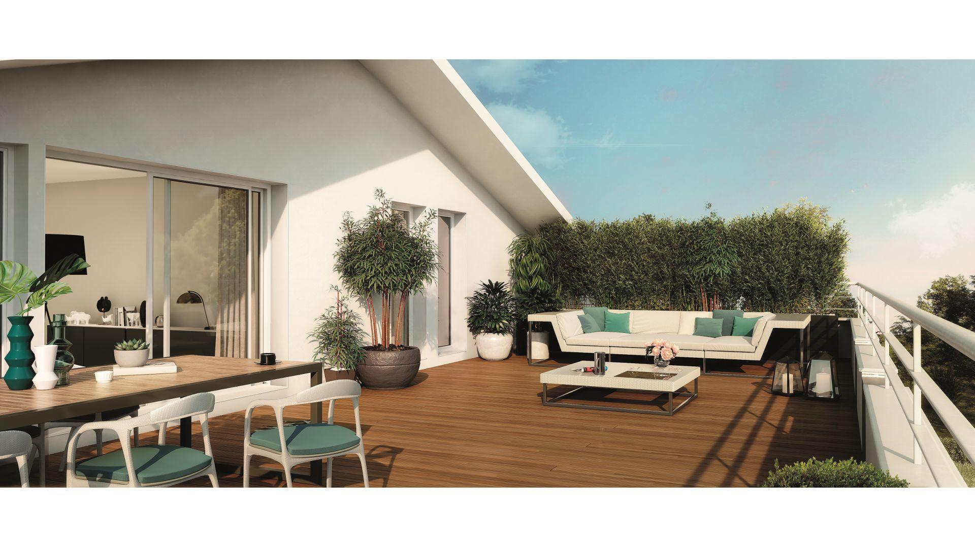 Greencity Immobilier - Toulouse Lardenne - 31100 - Les Cèdres Bleus - achat appartements du T2 au T4 - vue terrasse