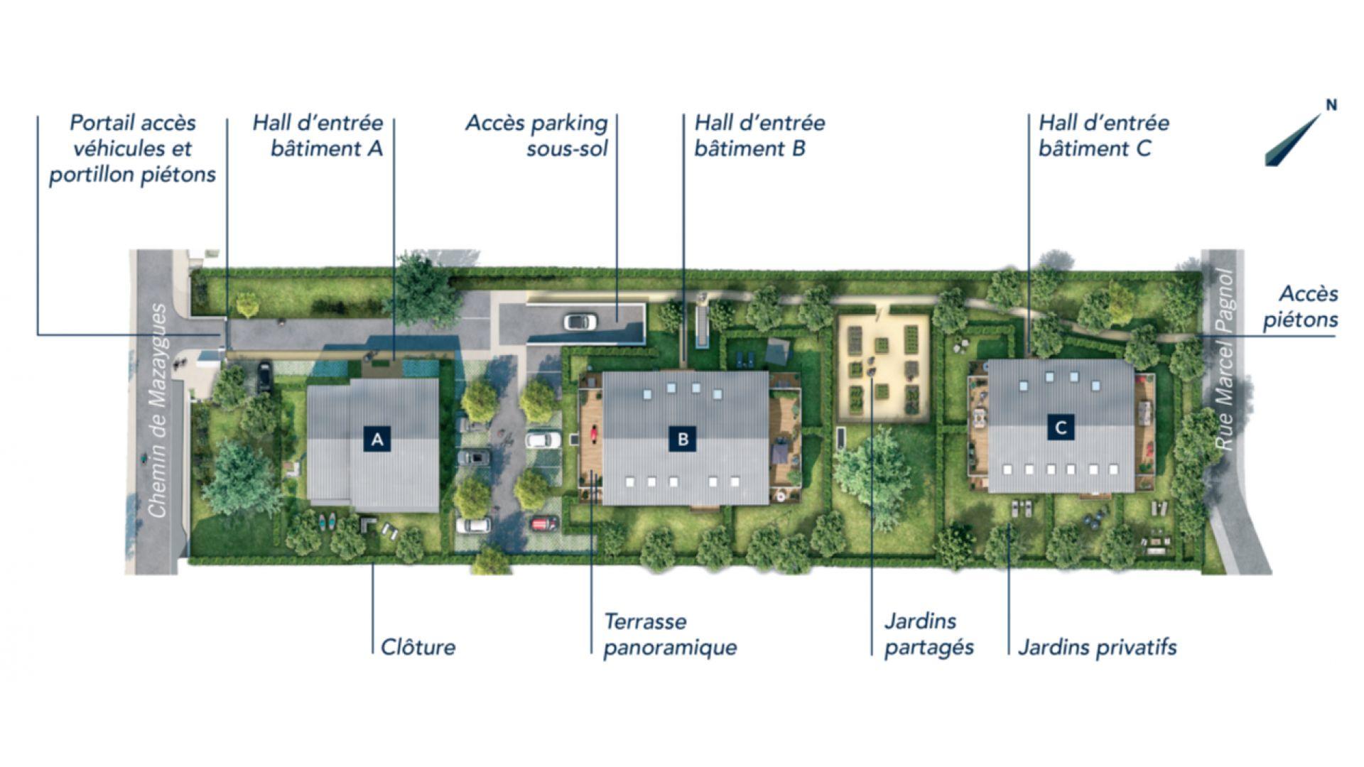 Greencity Immobilier - Toulouse Lardenne - 31100 - Les Cèdres Bleus - achat appartements du T2 au T4 - plan de masse