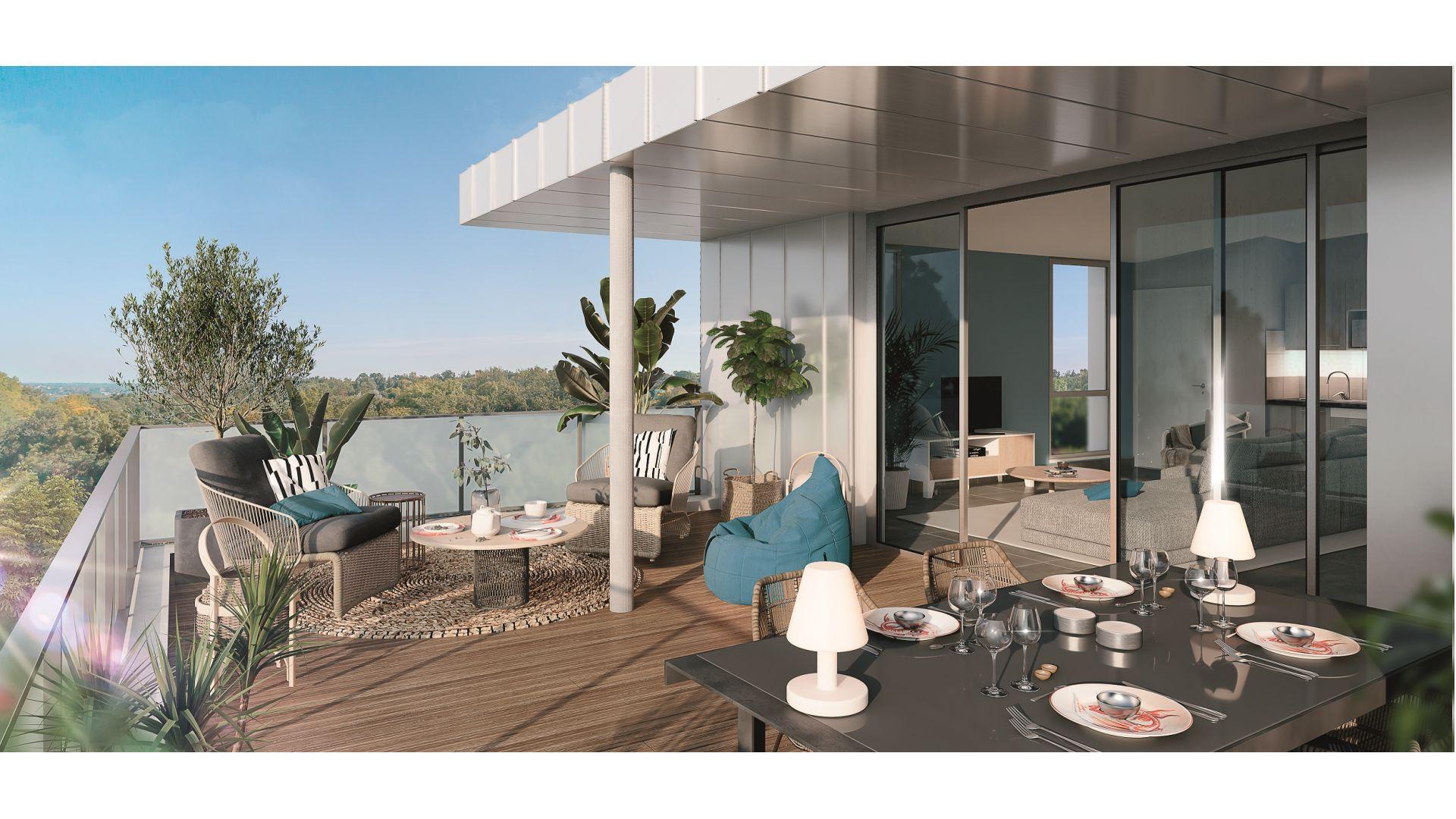 Greencity Immobilier - Résidence Les Jardins de Pouvourville - 31200 Toulouse Pouvourville - a vendre appartements du T2 au T4 - vue terrasse