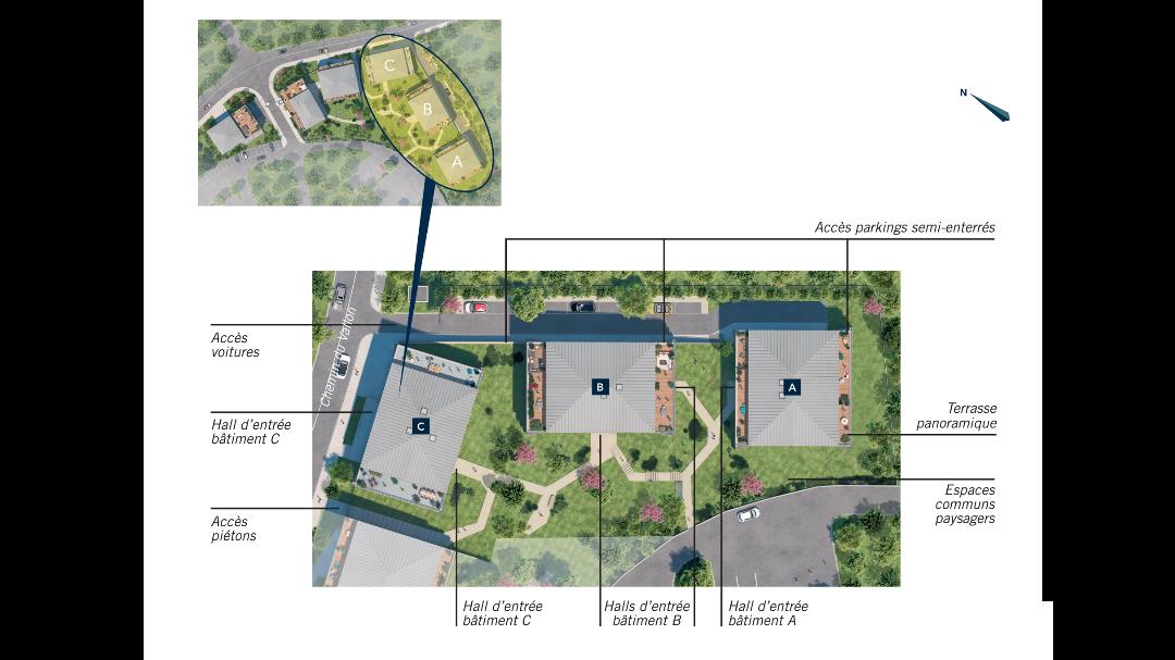 Greencity Immobilier - Résidence Les Jardins de Pouvourville - 31200 Toulouse Pouvourville - a vendre appartements du T2 au T4 - plan de masse