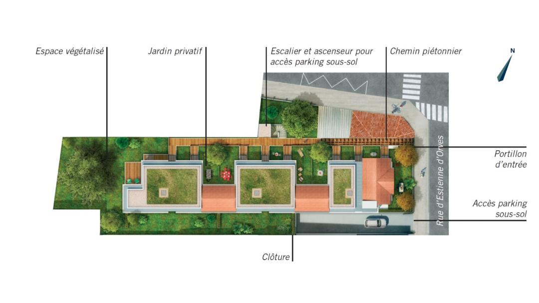 GreenCity immobilier - Les Jardins D'Icare - Courbevoie - 92400 - plan de masse