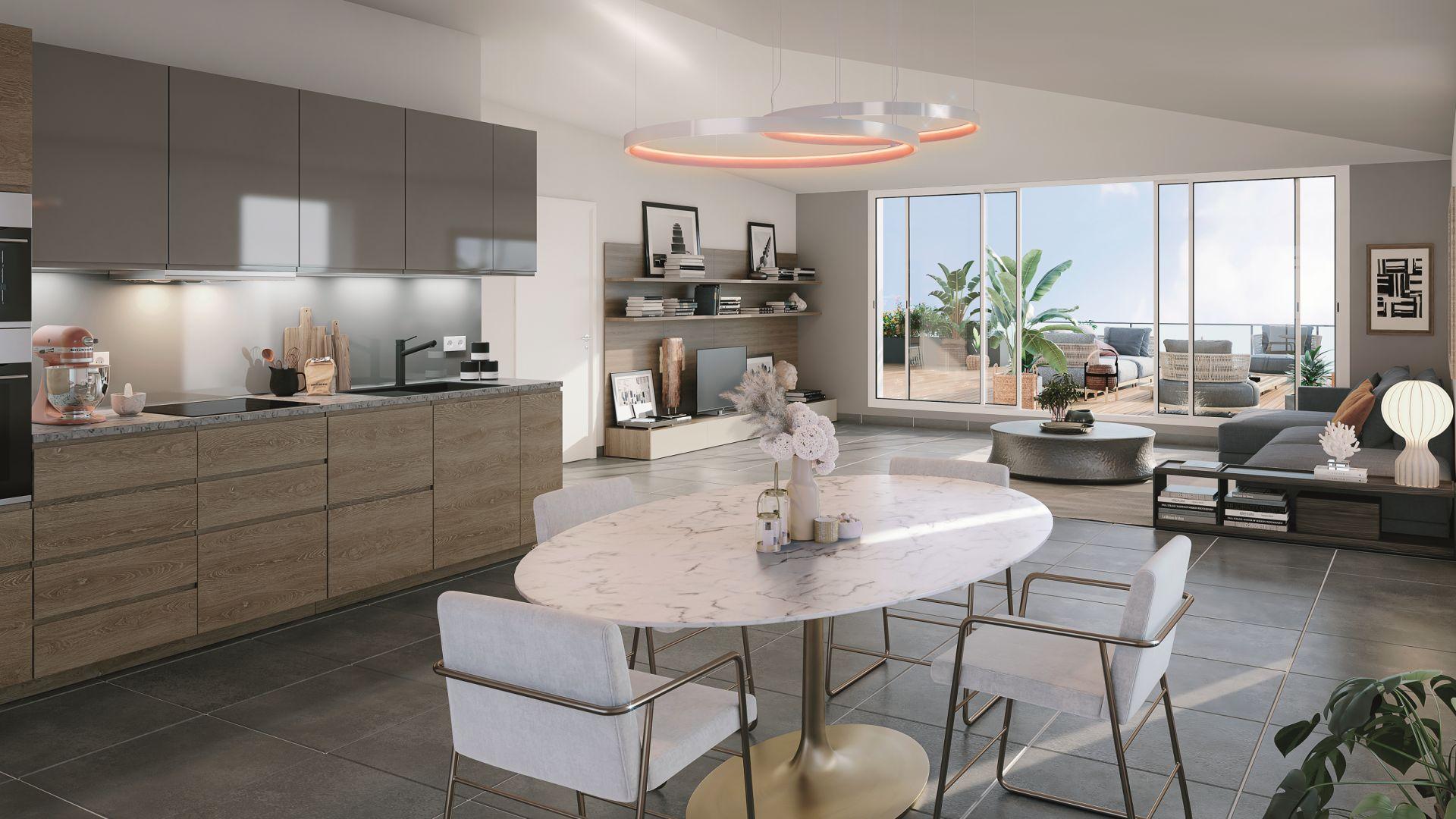 Greencity Immobilier - Résidence Parc du Vallon - 31200 Toulouse Pouvourville - a vendre appartements du T2 au T5 - vue intérieure