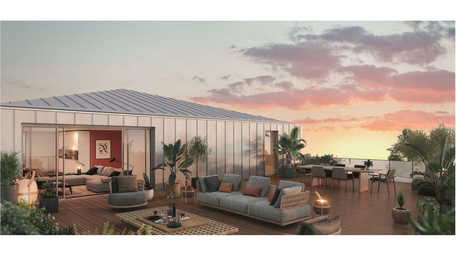 Greencity Immobilier - Résidence Parc du Vallon - 31200 Toulouse Pouvourville - a vendre appartements du T2 au T5 - vue terrasse