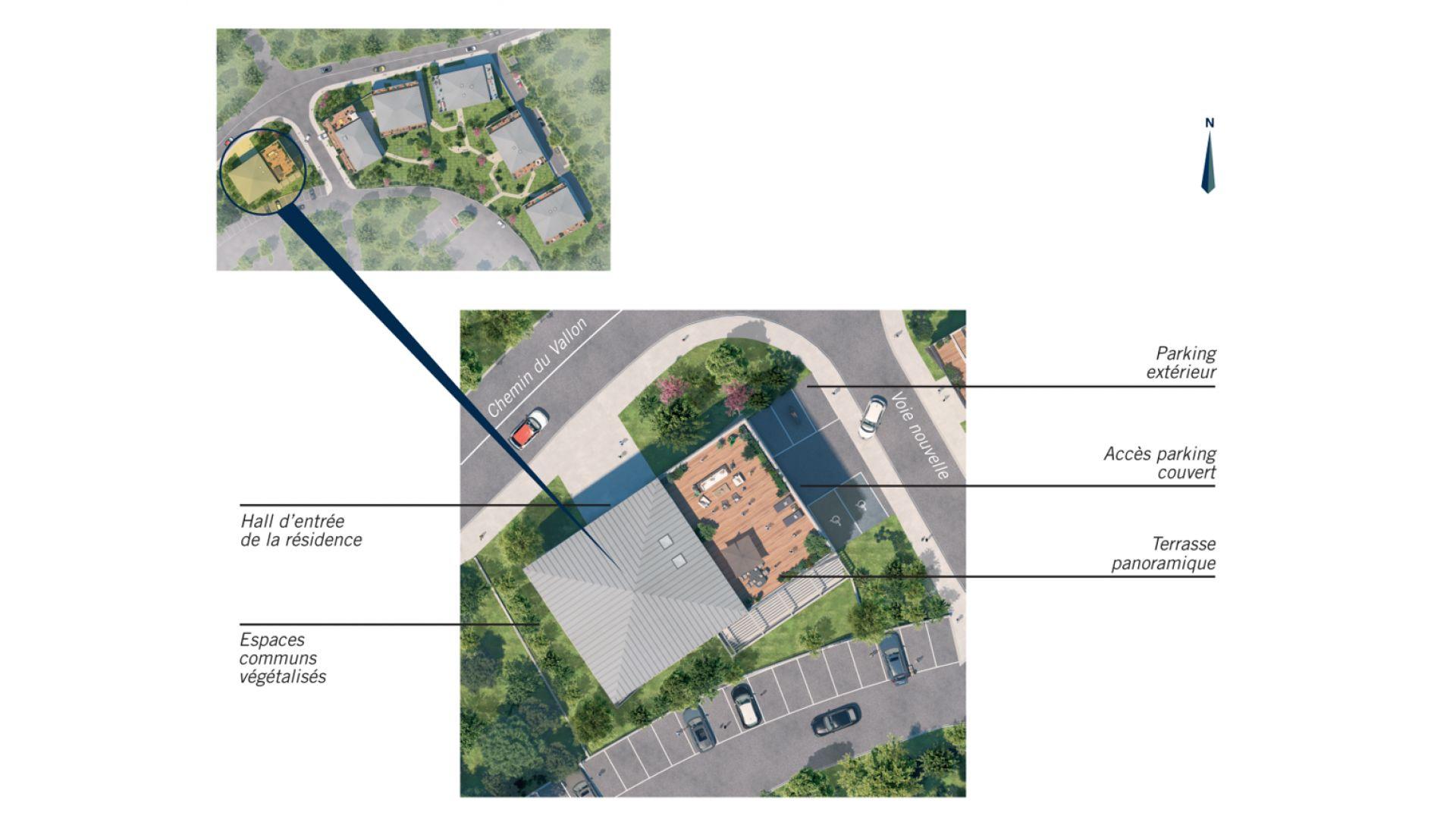 Greencity Immobilier - Résidence Parc du Vallon - 31200 Toulouse Pouvourville - a vendre appartements du T2 au T5 - plan de masse