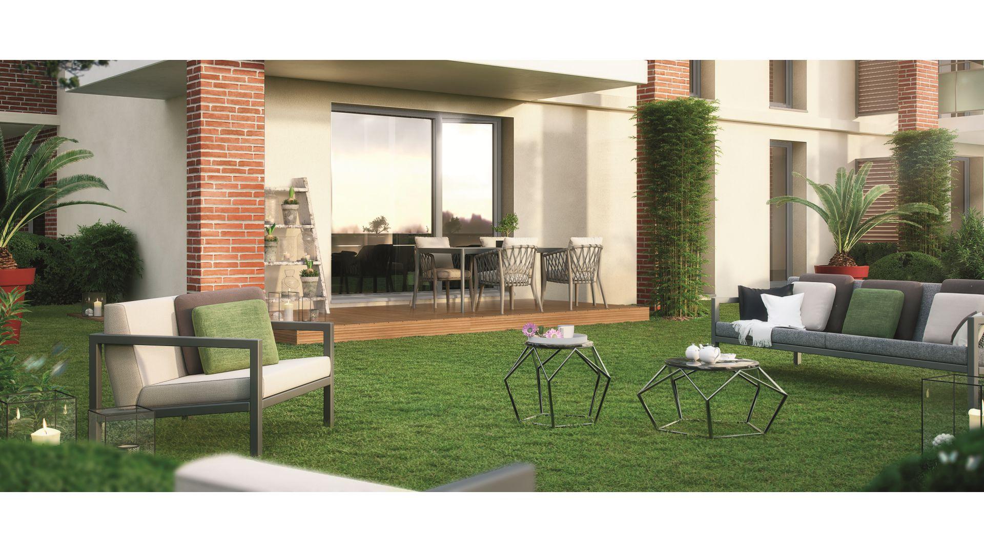 GreenCity immobilier - Tournefeuille 31170 - Résidence Parc Rimbaud - appartements et villas neufs du T2 au T5 - vue terrasse