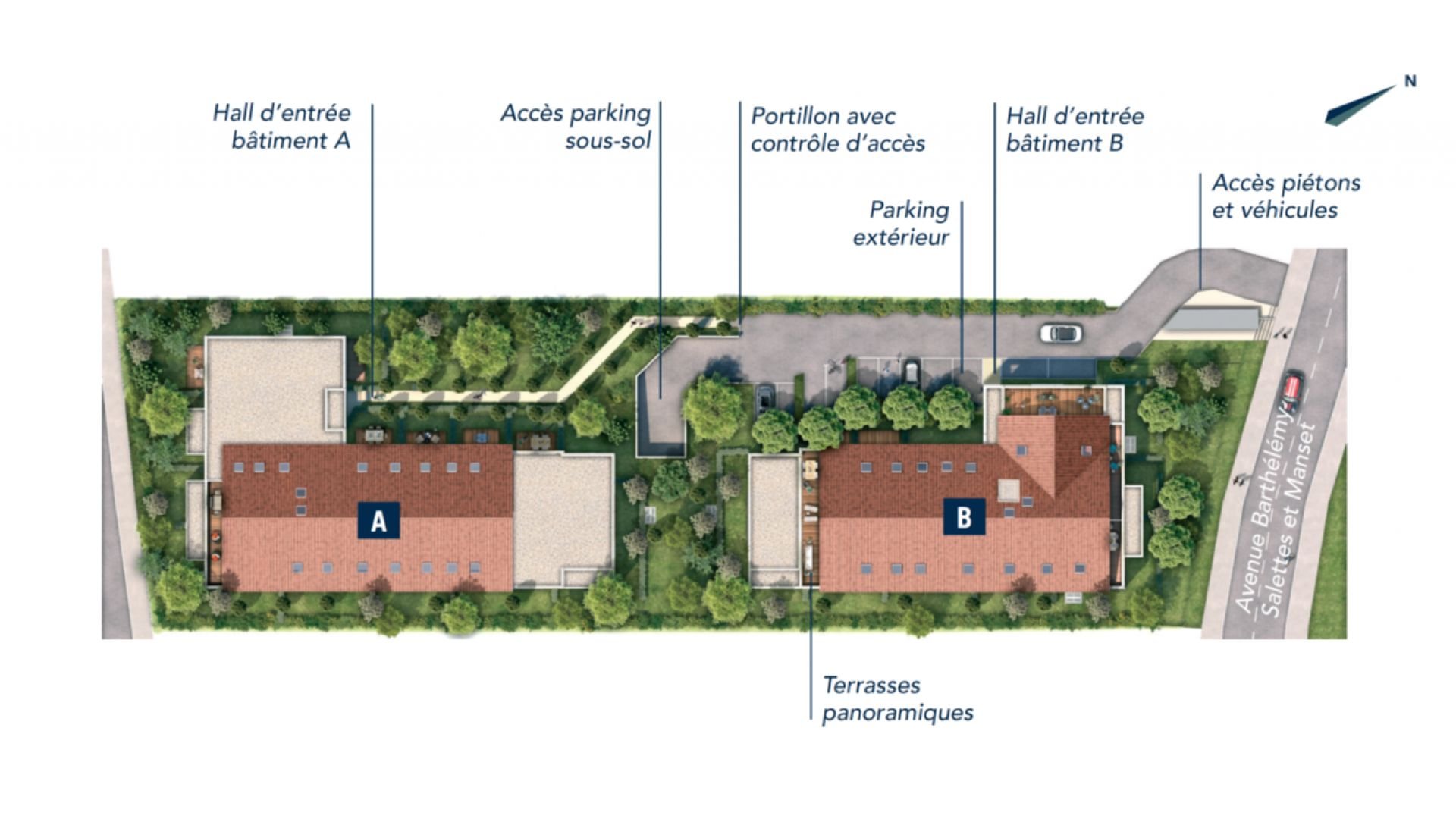 Greencity Immobilier - Patio 47 - 31320 Castanet-Tolosan - achat appartements du T2 au T4 - plan de masse