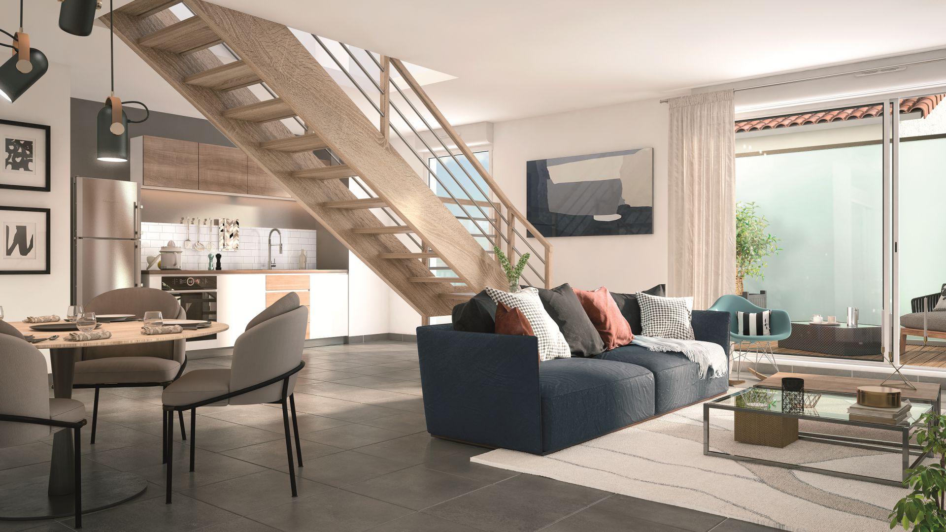 GreenCity immobilier - Toulouse Saint-Simon - 31100 - Résidence Azéria - appartement neuf du T2 au T4 Duplex - vue intérieure