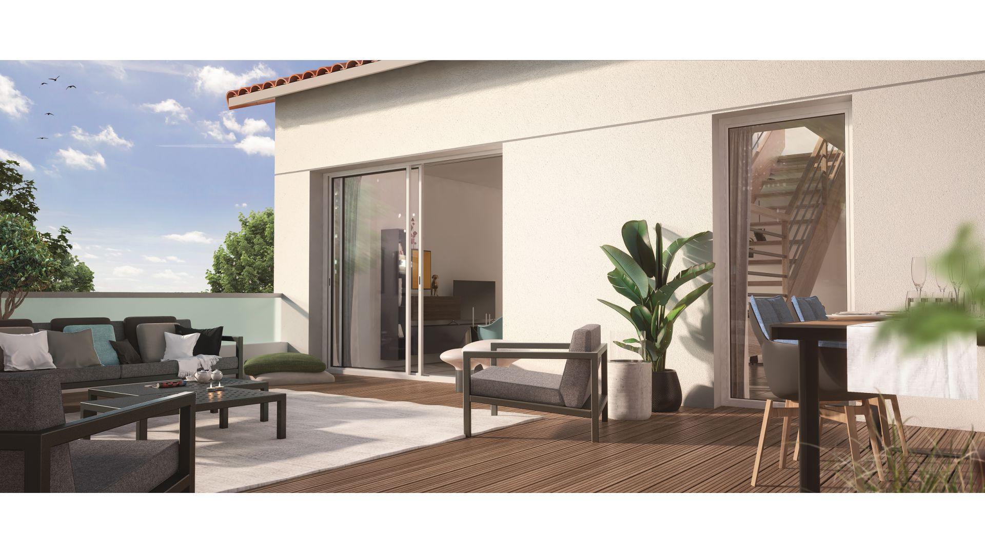 GreenCity immobilier - Toulouse Saint-Simon - 31100 - Résidence Azéria - appartement neuf du T2 au T4 Duplex - vue terrasse