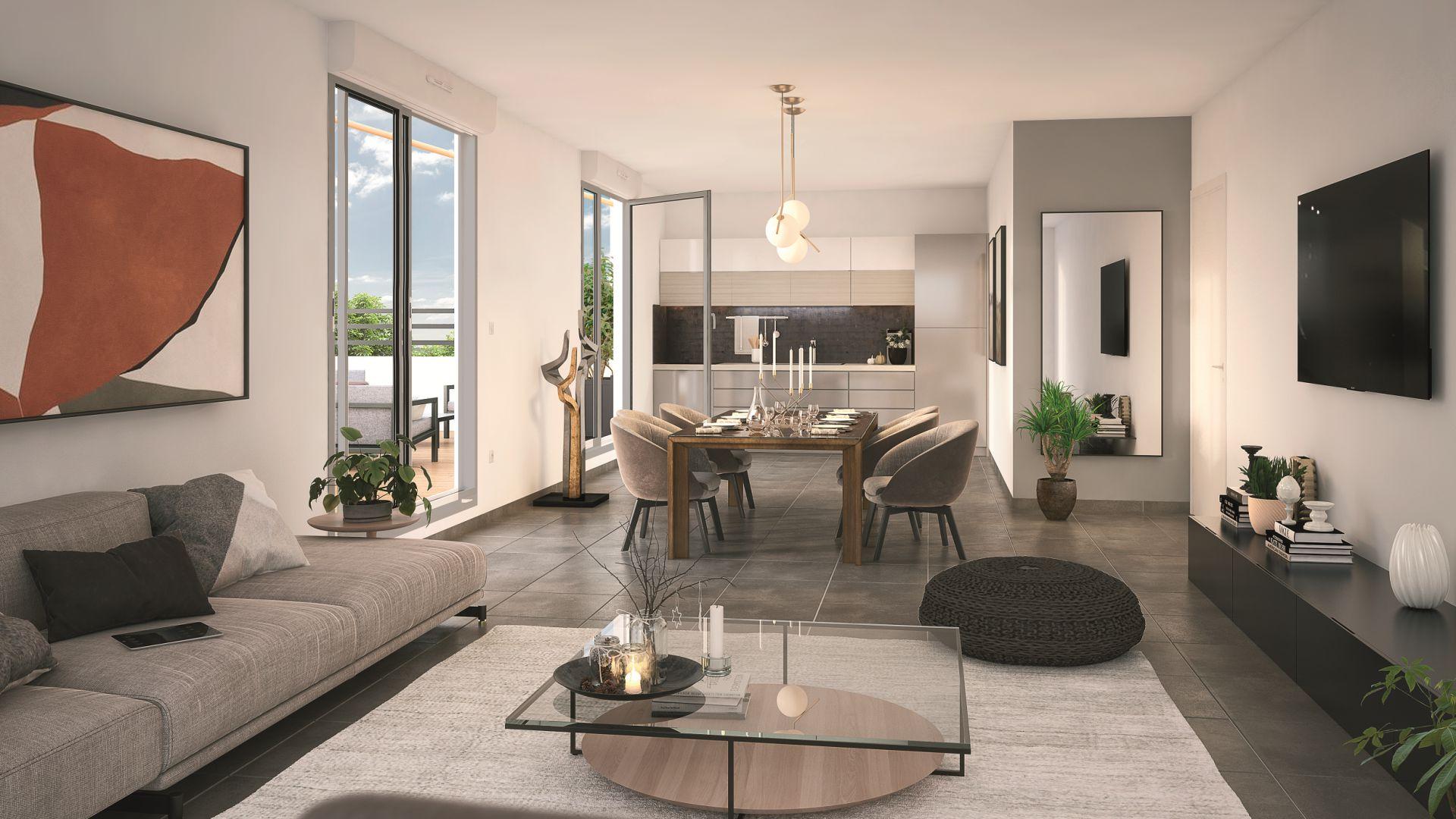GreenCity immobilier - Sucy en Brie - 94370 - Résidence du Grand val - appartement neuf du T1 au T5 - vue intérieure