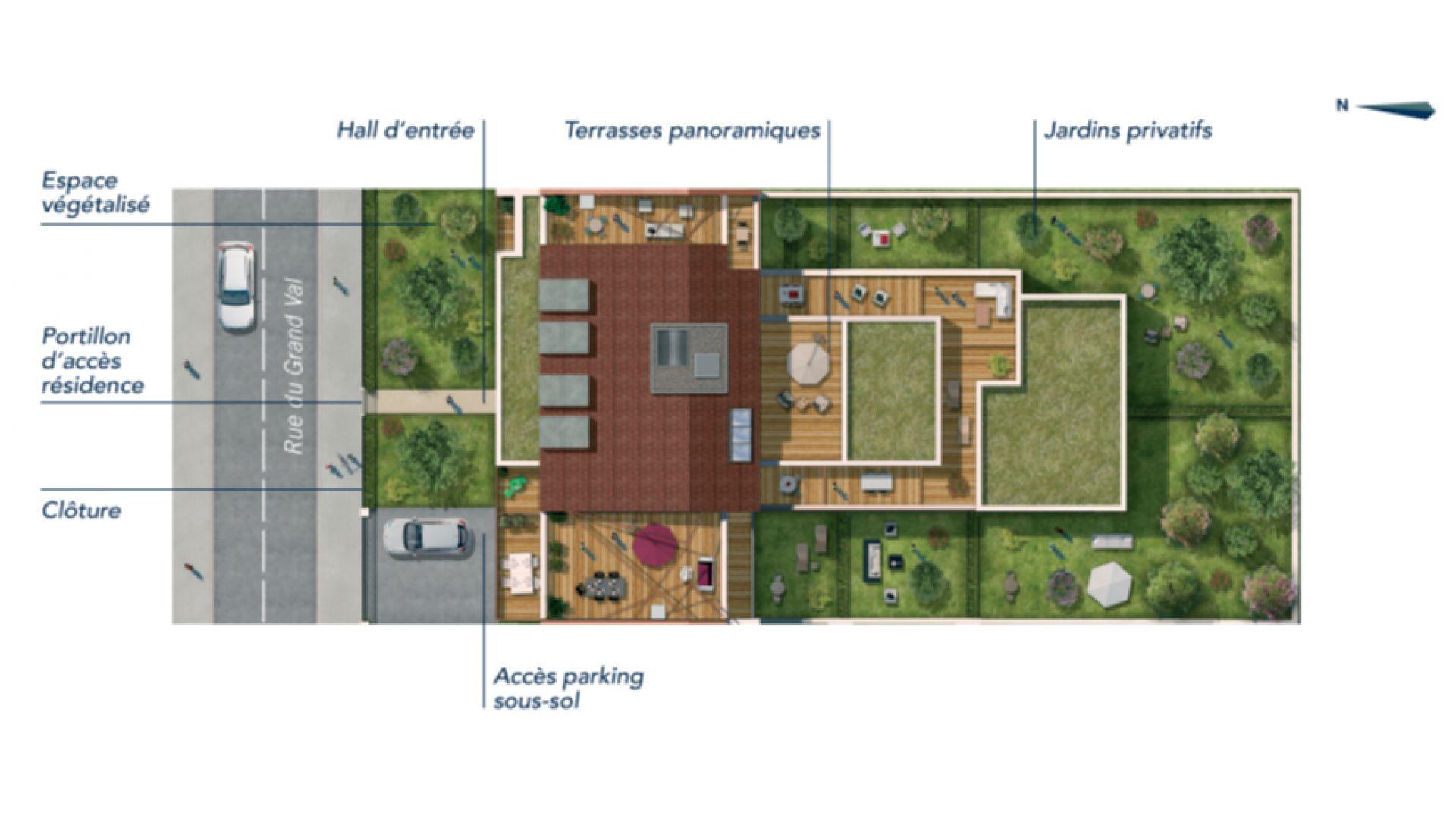 GreenCity immobilier - Sucy en Brie - 94370 - Résidence du Grand val - appartement neuf du T1 au T5 - plan de masse
