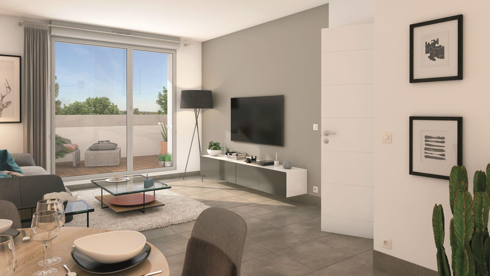 Greencity Immobilier - Résidence Le Soprano - Castanet-Tolosan 31320 - appartements neufs du T1 au T2   - vue intérieure