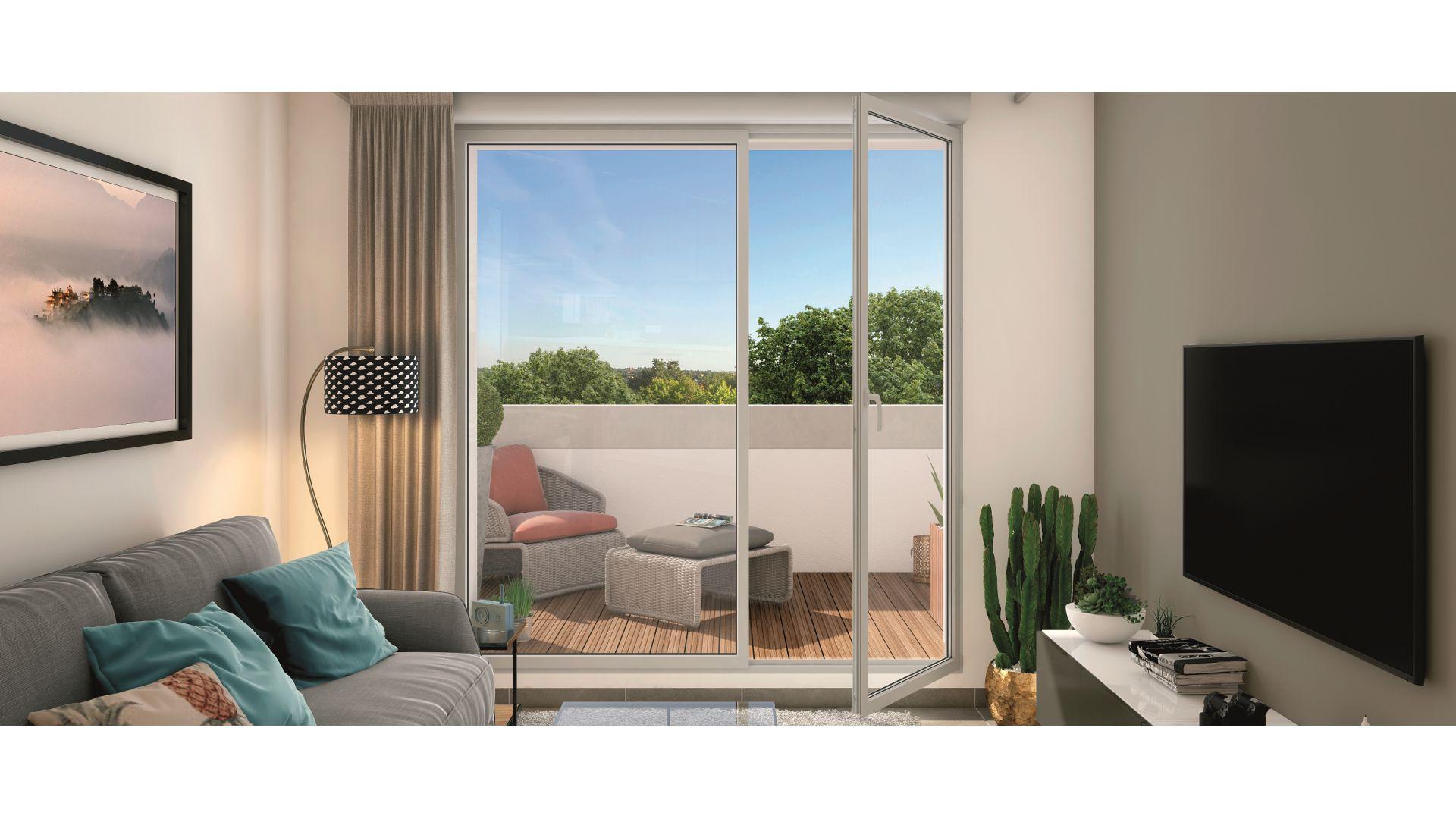 Greencity Immobilier - Résidence Le Soprano - Castanet-Tolosan 31320 - appartements neufs du T1 au T2  - vue terrasse