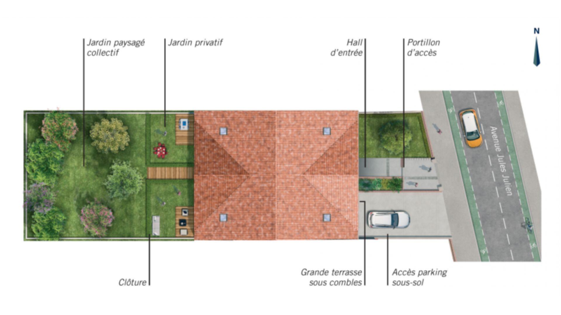 Greencity Immobilier - Résidence Les Beaux Arts - Toulouse Jules Julien - 31400 - plan de masse