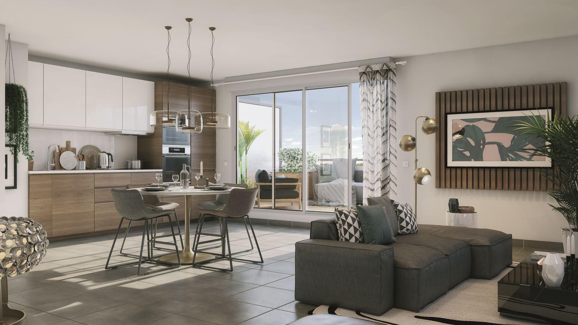 GreenCity immobilier - Plaisance du Touch - 31830 - Résidence Sylvia - appartements neufs du T2 au T4 - vue intérieure