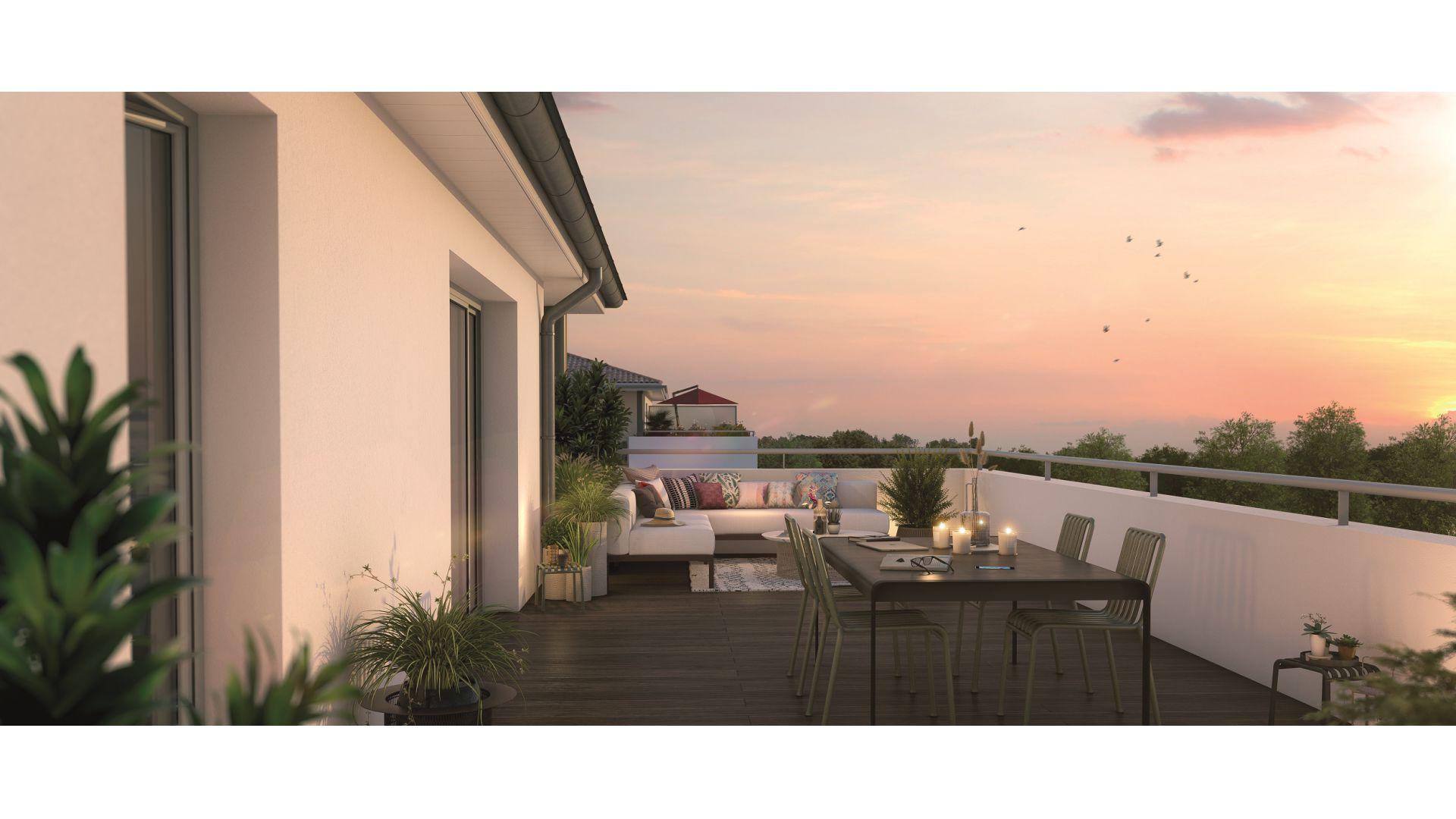 GreenCity immobilier - Plaisance du Touch - 31830 - Résidence Sylvia - appartements neufs du T2 au T4 - vue terrasse