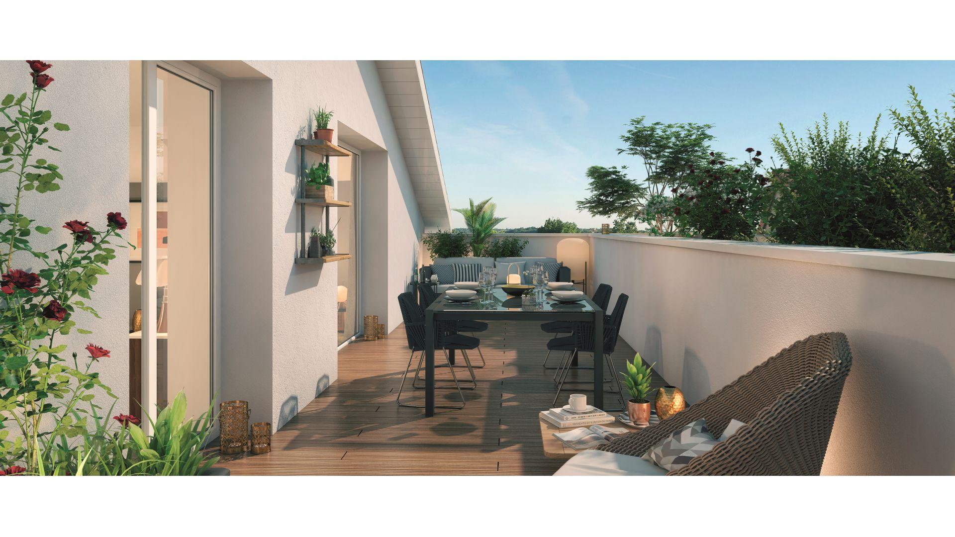 GreenCity immobilier - Toulouse Saint-Simon - 31100 - Résidence Tempo Verde - appartements neufs et villas neuves - vue terrasse