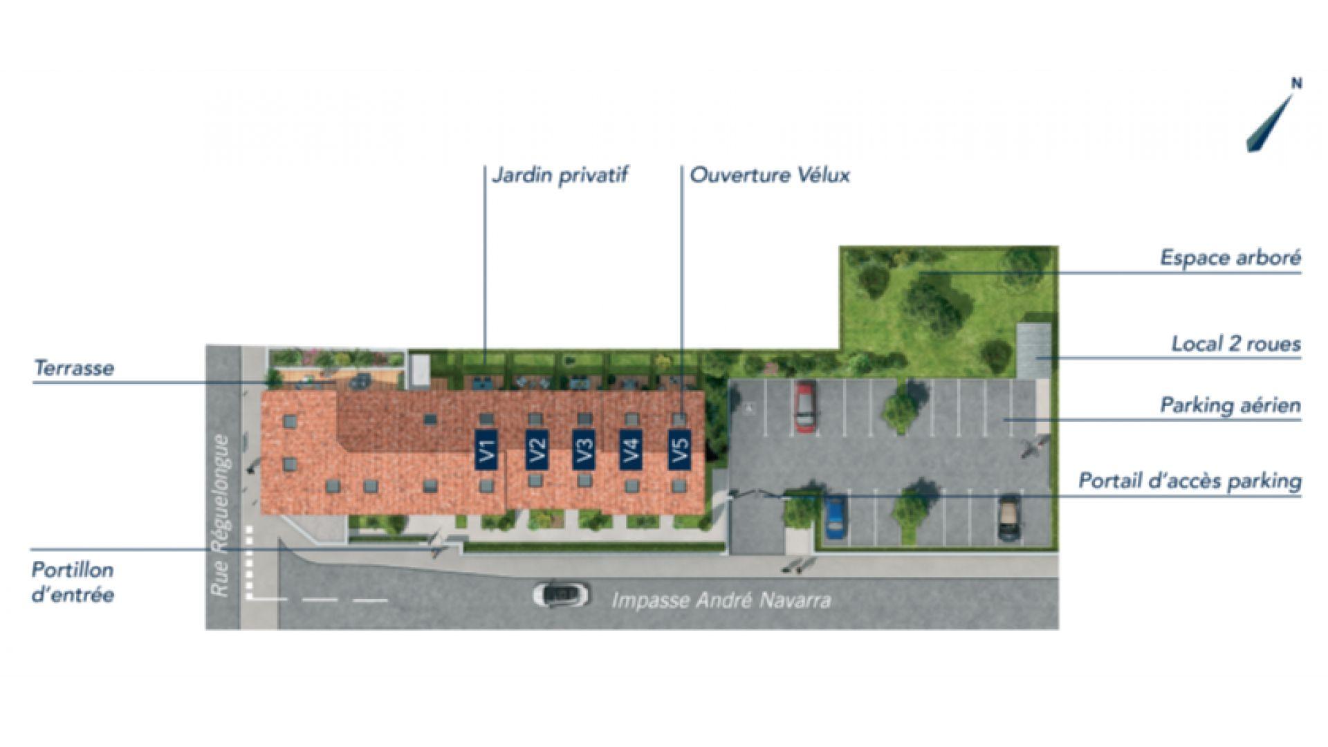 GreenCity immobilier - Toulouse Saint-Simon - 31100 - Résidence Tempo Verde - appartements neufs et villas neuves - plan de masse