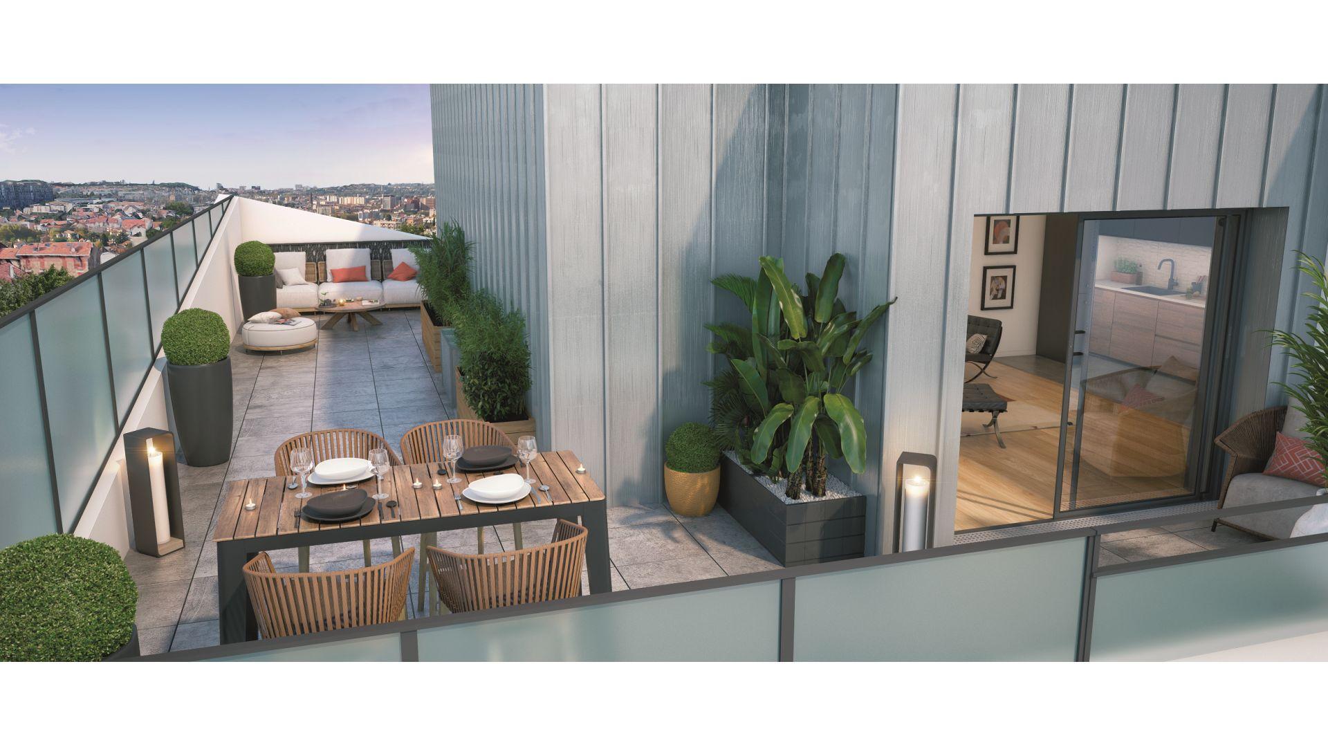 Greencity Immobilier - Résidence Silver Park - achat appartements du T2 au T4 - Le Perreux sur Marne 94170 - vue terrasse
