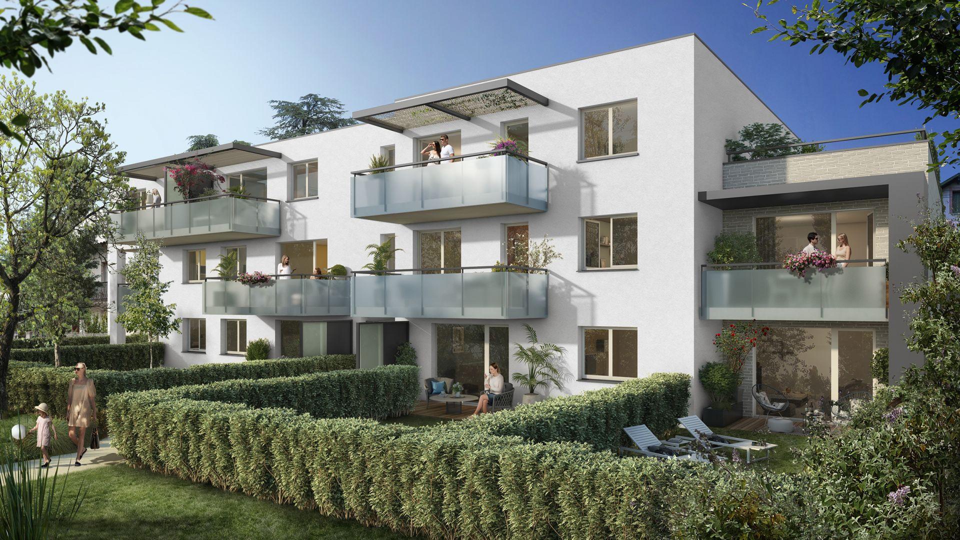 Greencity Immobilier - Résidence Sweet Garden - 31200 Toulouse Bonnefoy - appartements et villas du T2 au T4 - vue cour
