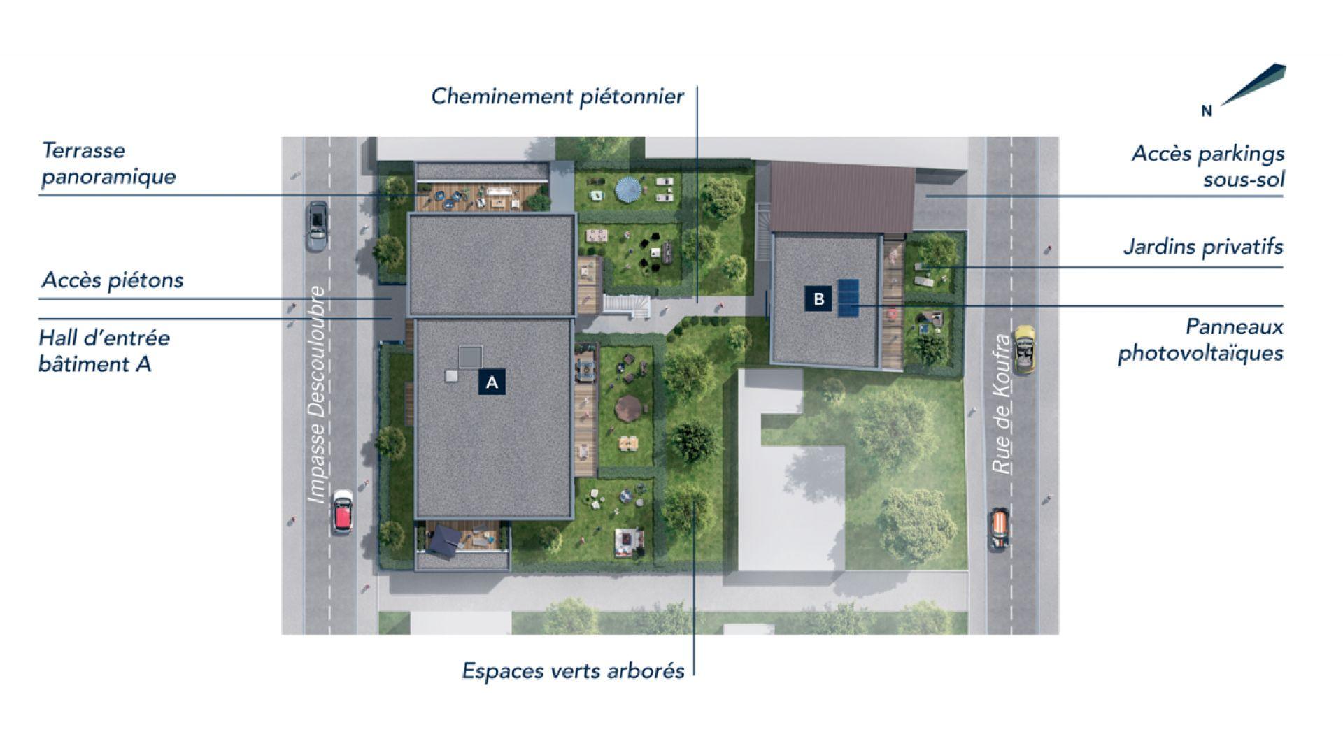 Greencity Immobilier - Résidence Sweet Garden - 31200 Toulouse Bonnefoy - appartements et villas du T2 au T4   - plan de masse