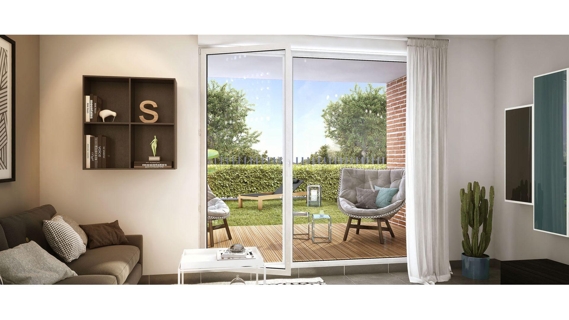Greencity immobilier - Val Flora - Saint-Alban - 31140 - appartement neuf du T2 au T4 - vue terrasse