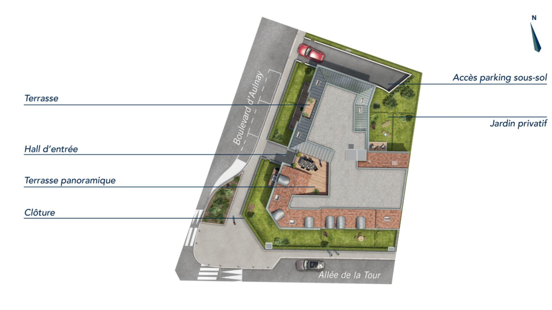 GreenCity immobilier - achat appartement  neuf - Villemomble - 93250 - Villa Castille - plan de masse