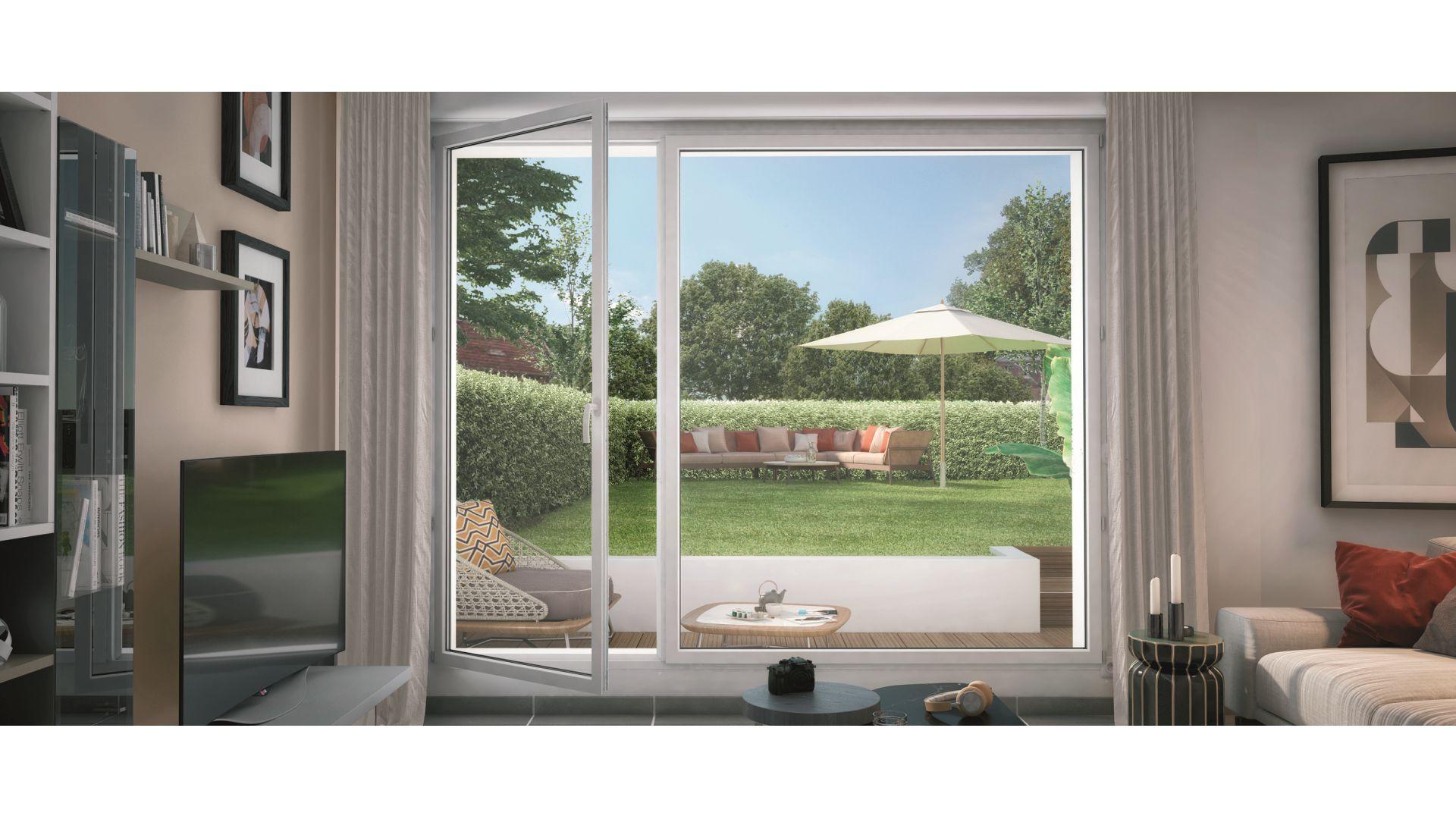 GreenCity Immobilier - Villa Grés - Gretz Armainvilliers - appartements du T1 bis au T3 - vue terrasse