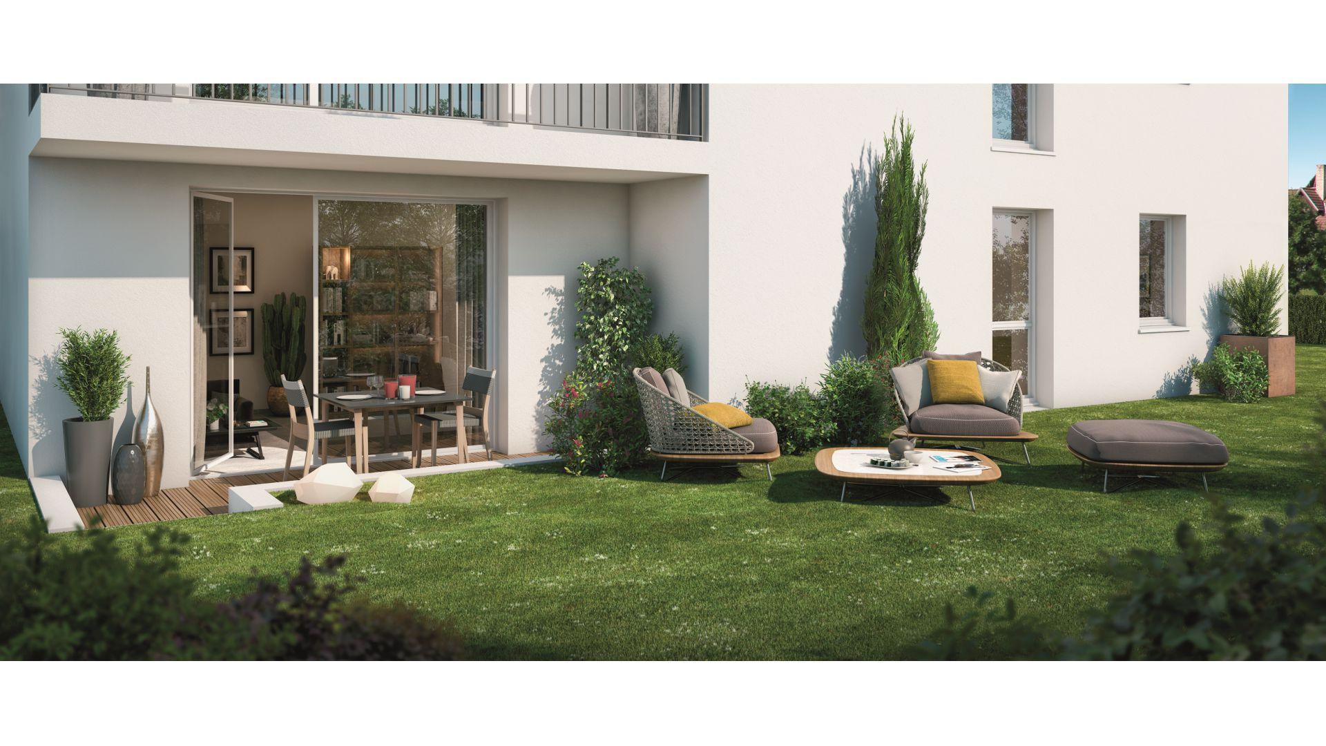 GreenCity immobilier - Villemomble 93250 - Villa Offenbach - Appartements neufs du T1 bis au T4 - vue terrasse