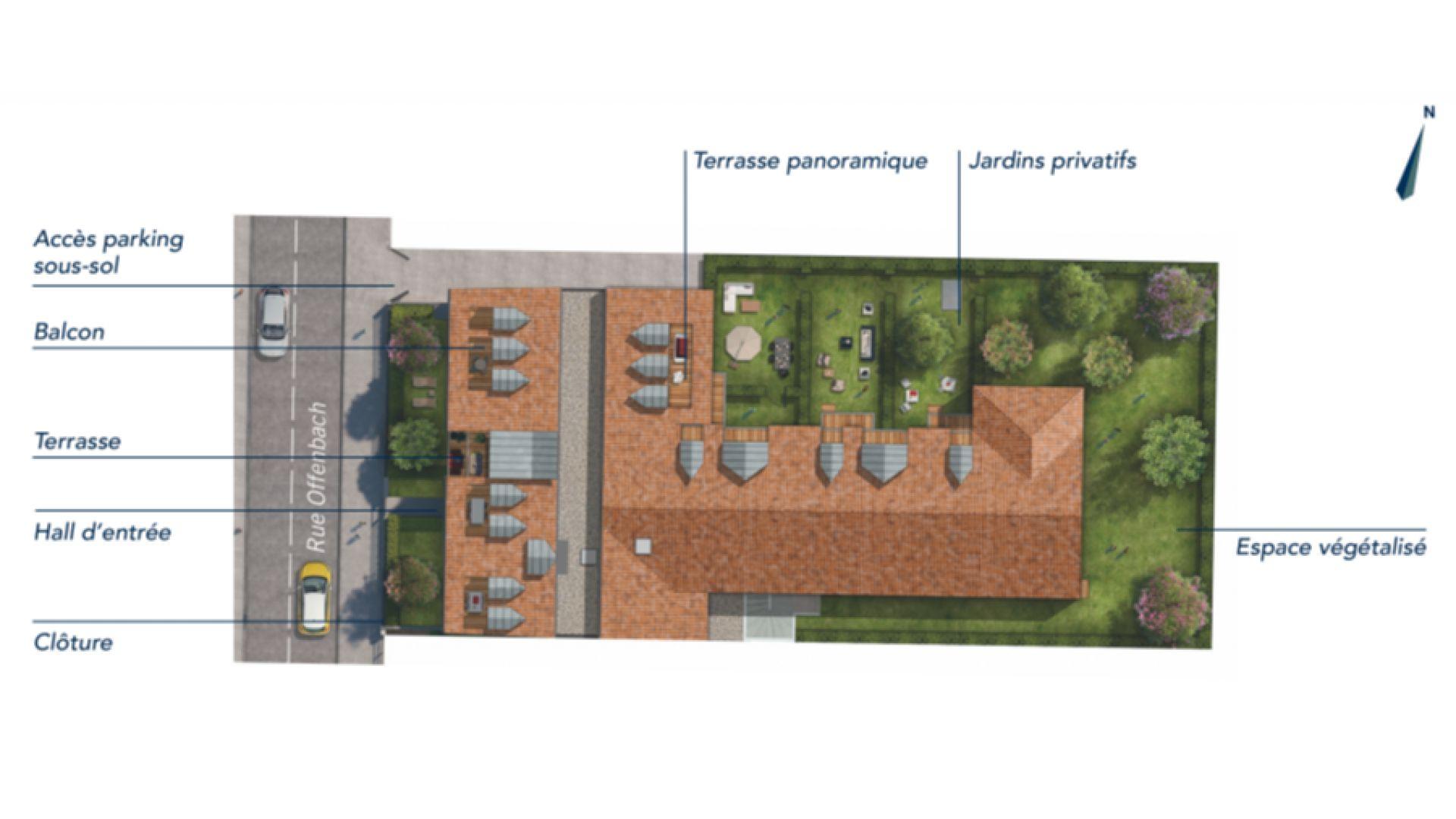 GreenCity immobilier - Villemomble 93250 - Villa Offenbach - Appartements neufs du T1 bis au T4 - plan de masse