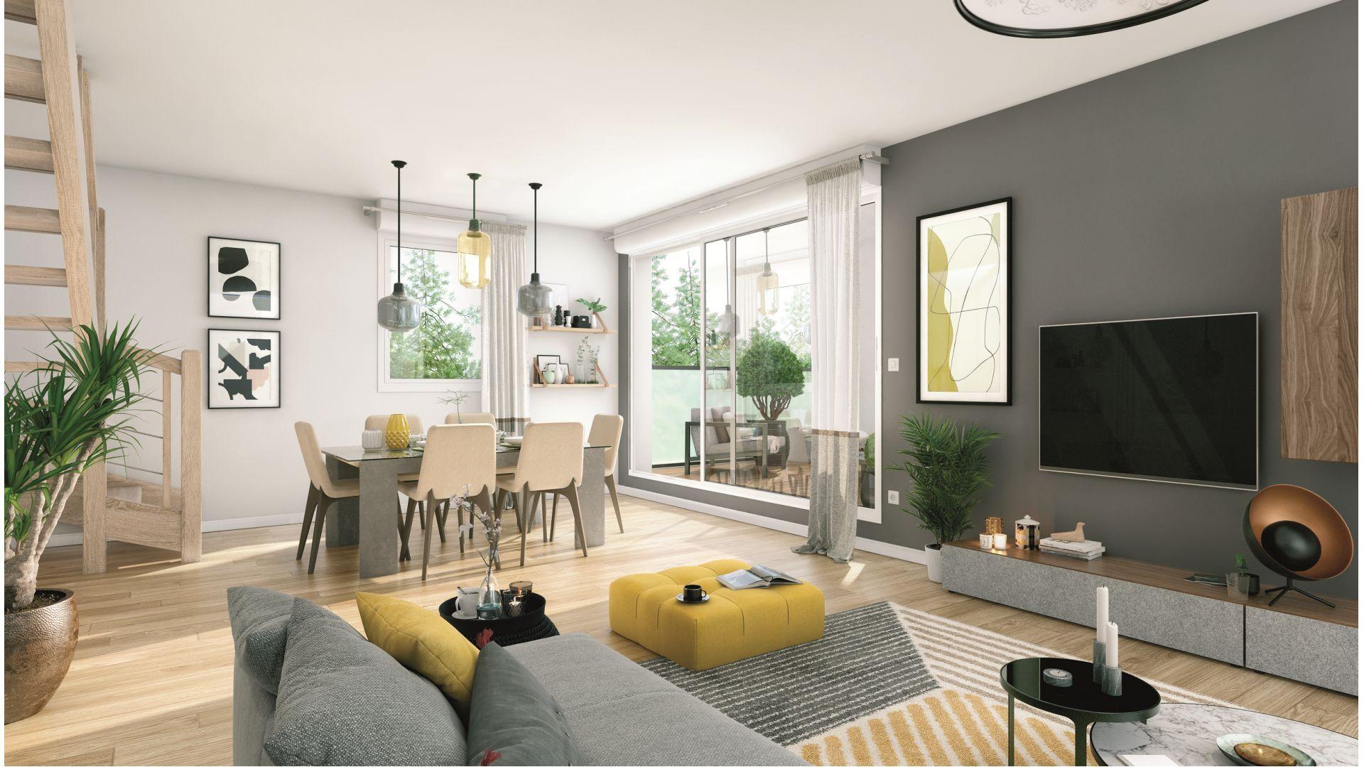 Greencity Immobilier - Résidence Villa Palacio - 31700 Blagnac - appartements neufs du T2 au T4 Duplex - vue intérieure