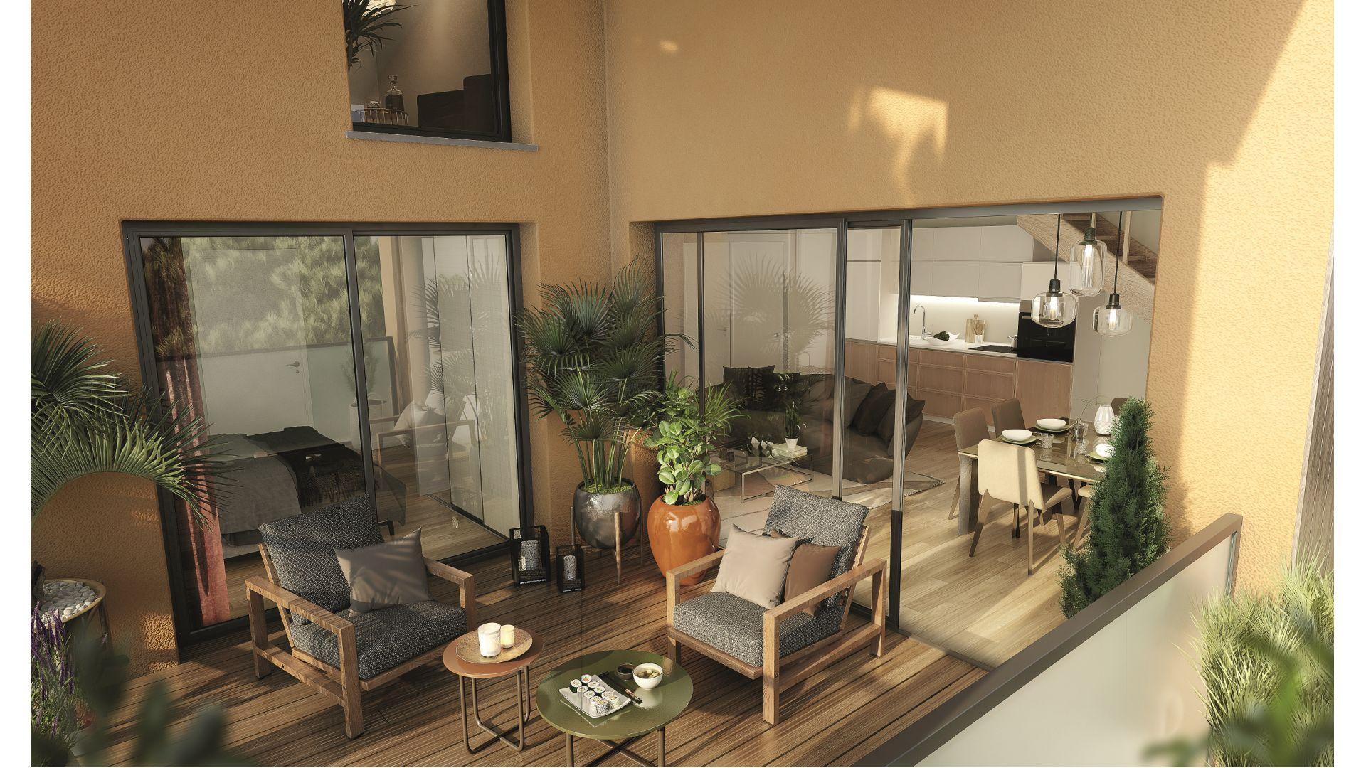 Greencity Immobilier - Résidence Villa Palacio - 31700 Blagnac - appartements neufs du T2 au T4 Duplex - vue terrasse