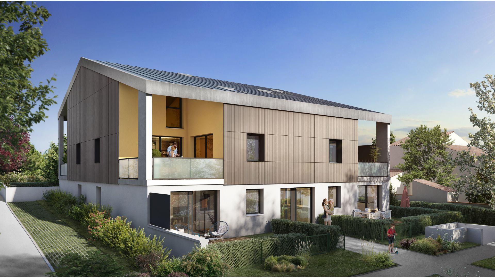 Greencity Immobilier - Résidence Villa Palacio - 31700 Blagnac - appartements neufs du T2 au T4 Duplex - vue jardin