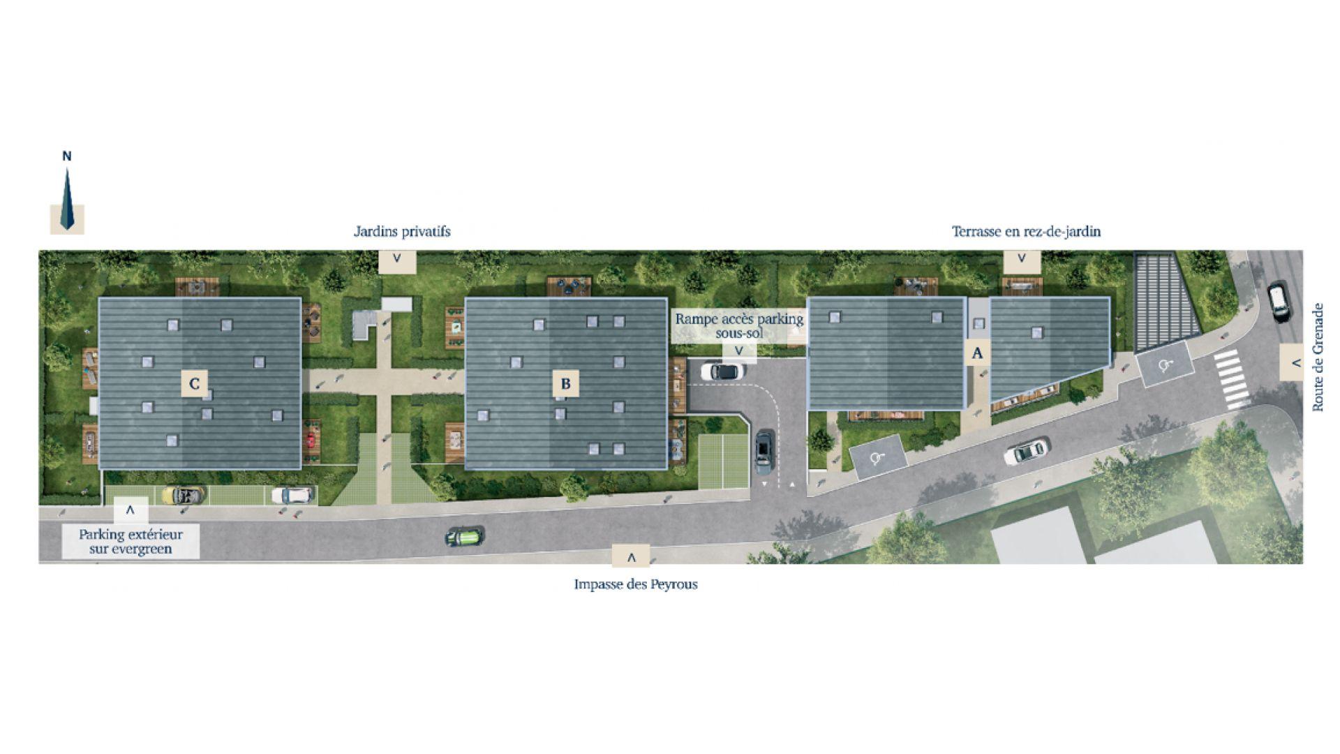 Greencity Immobilier - Résidence Villa Palacio - 31700 Blagnac - appartements neufs du T2 au T4 Duplex - plan de masse