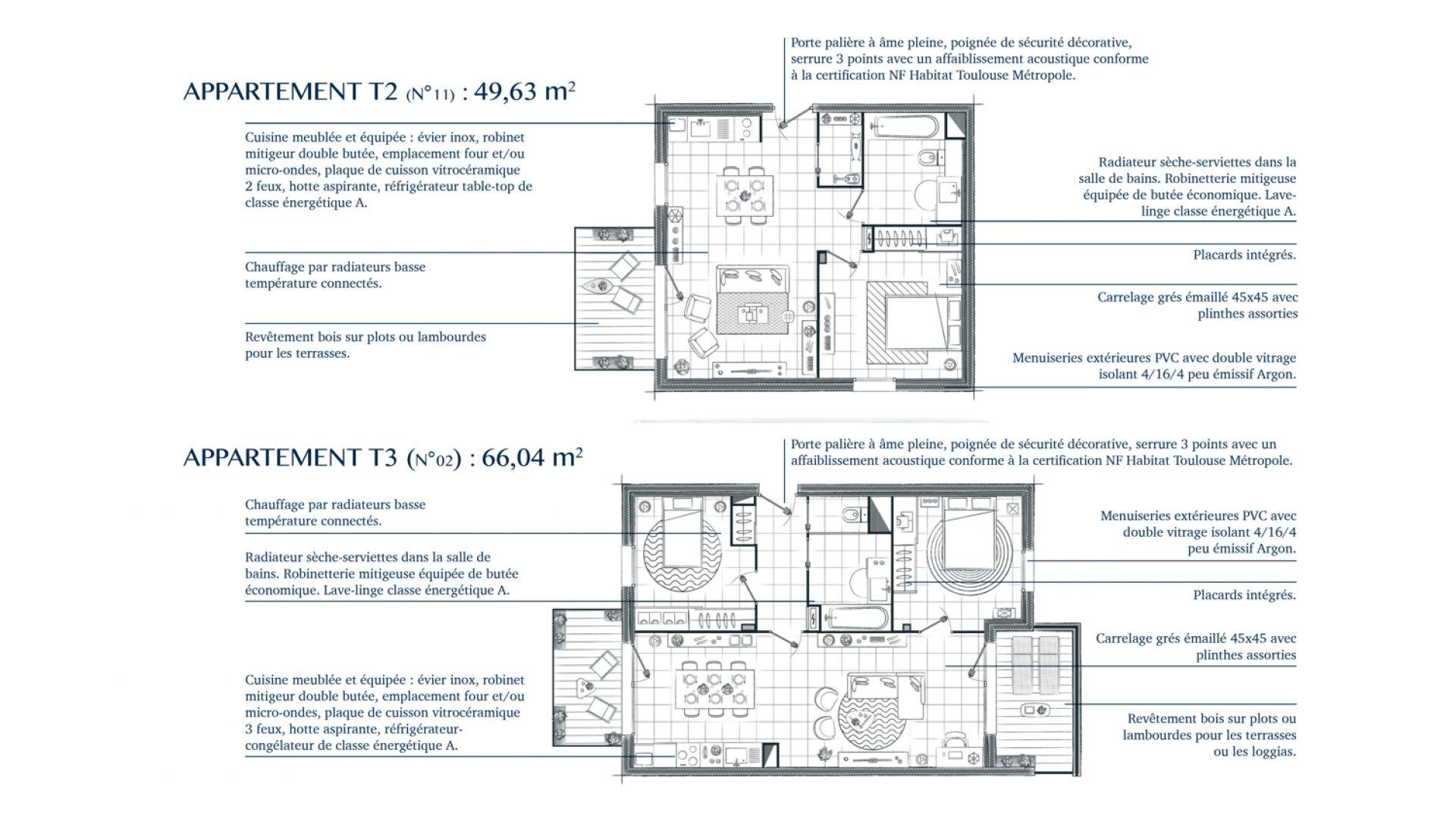 Greencity Immobilier - Résidence Villa Palacio - 31700 Blagnac - appartements neufs du T2 au T4 Duplex - plan T2 - T3