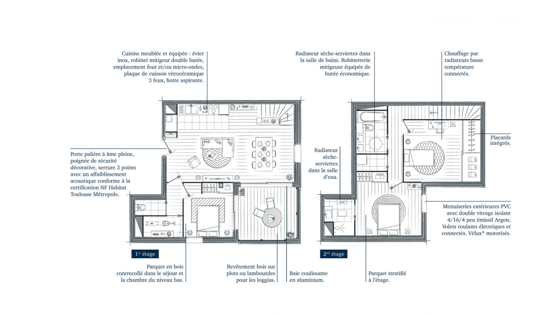 Greencity Immobilier - Résidence Villa Palacio - 31700 Blagnac - appartements neufs du T2 au T4 Duplex - plan T4 Duplex