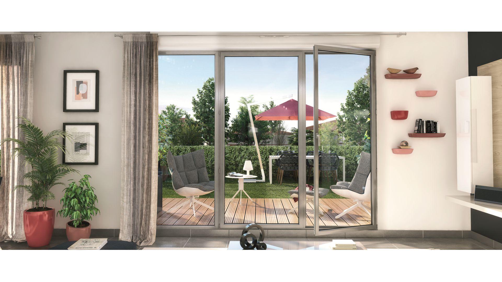 GreenCity immobilier - Toulouse rue des Fontaines - 31300 - résidence Villa Patricia - appartement T2 - T3 - T4 - T5 - vue terrasse
