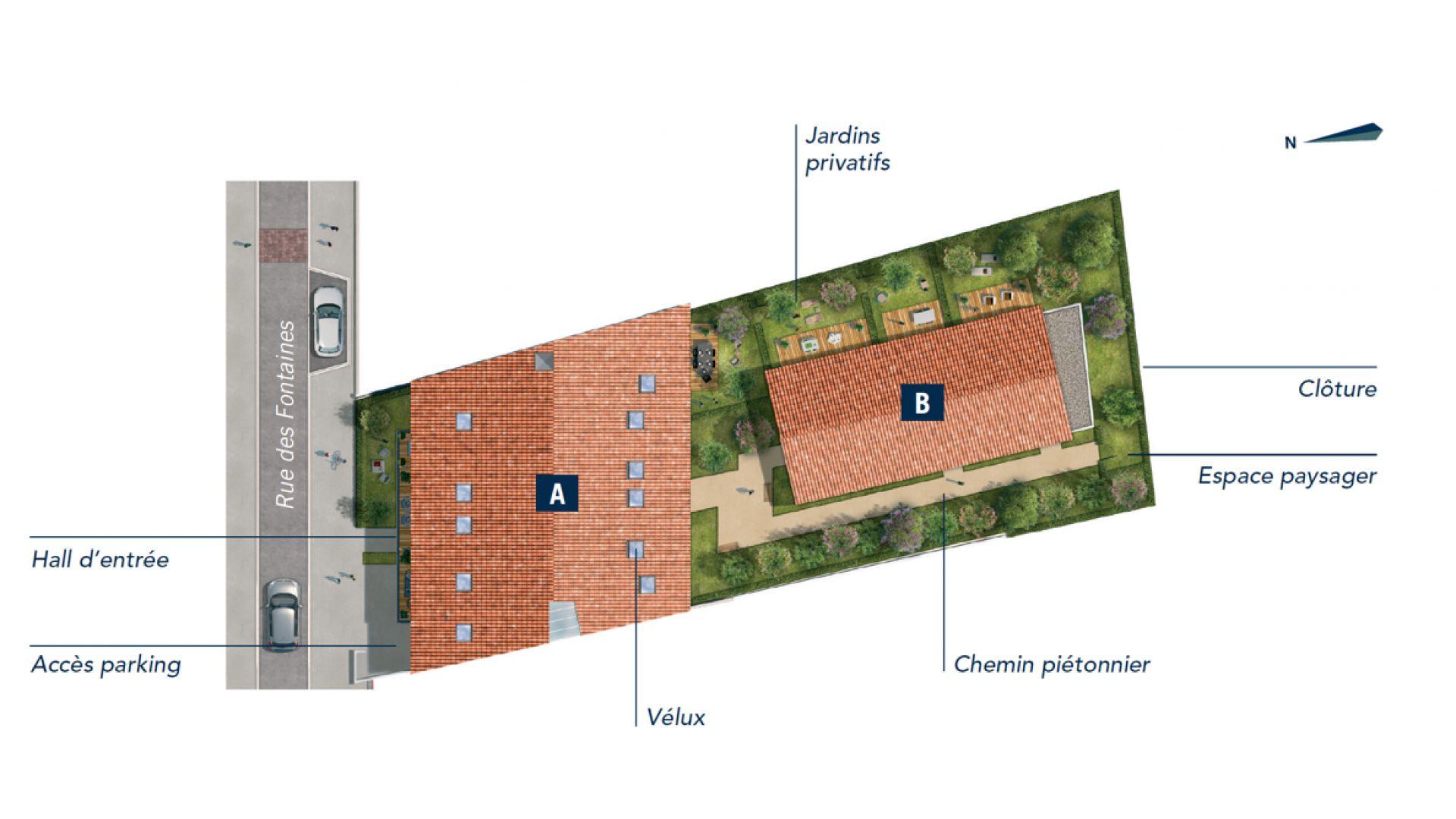 GreenCity immobilier - Toulouse rue des Fontaines - 31300 - résidence Villa Patricia - appartement T2 - T3 - T4 - T5 - plan de masse