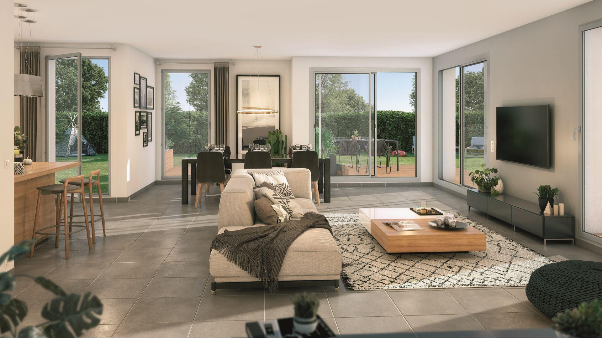 Greencity Immobilier - Villas Valéria - 31320 Auzeville - Villas neuves T6 - appartements neufs T2-T3 - intérieur villa 2 et 4