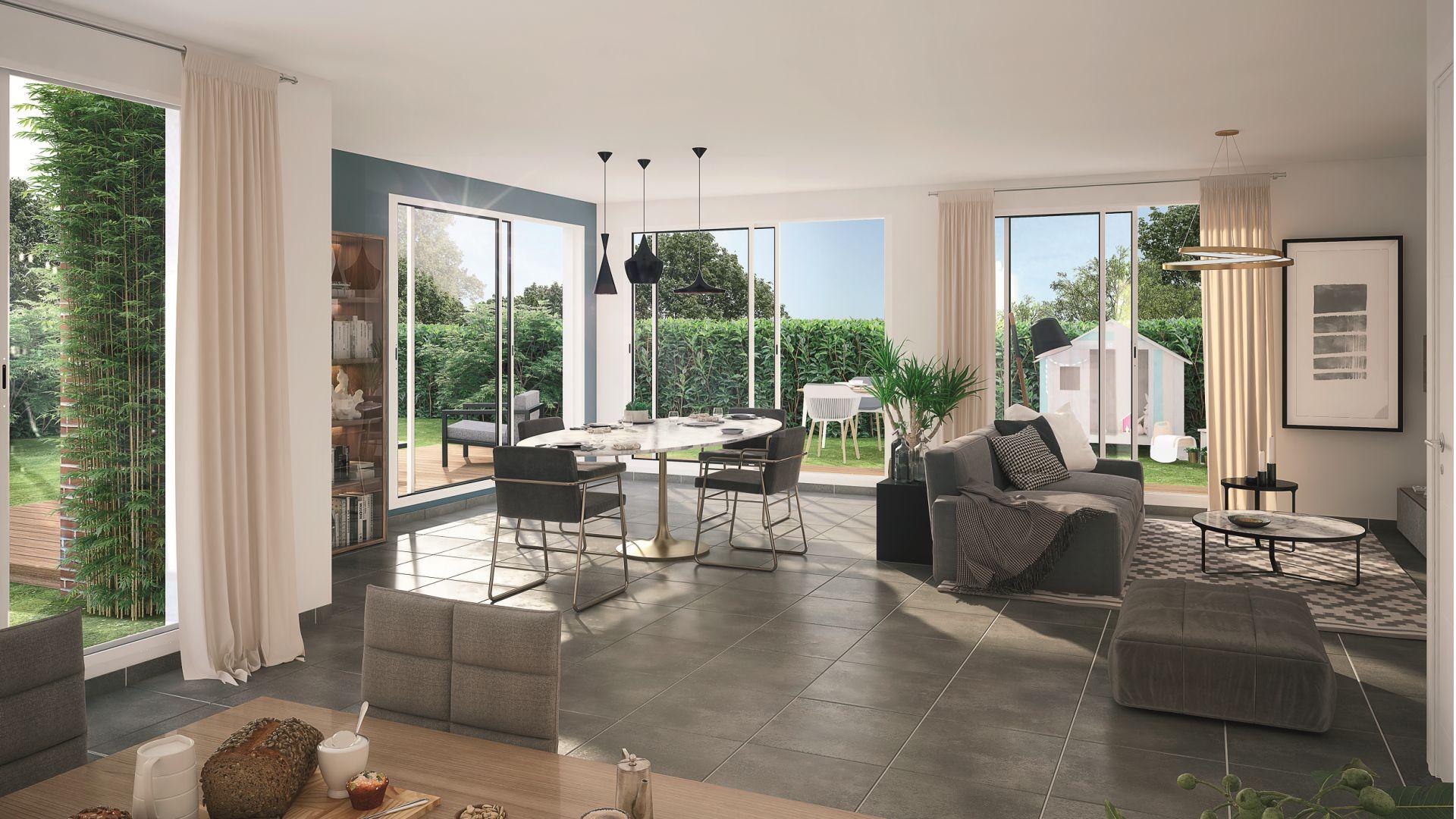 Greencity Immobilier - Villas Valéria - 31320 Auzeville - Villas neuves T6 - appartements neufs T2-T3 - intérieur villa 3 et 5