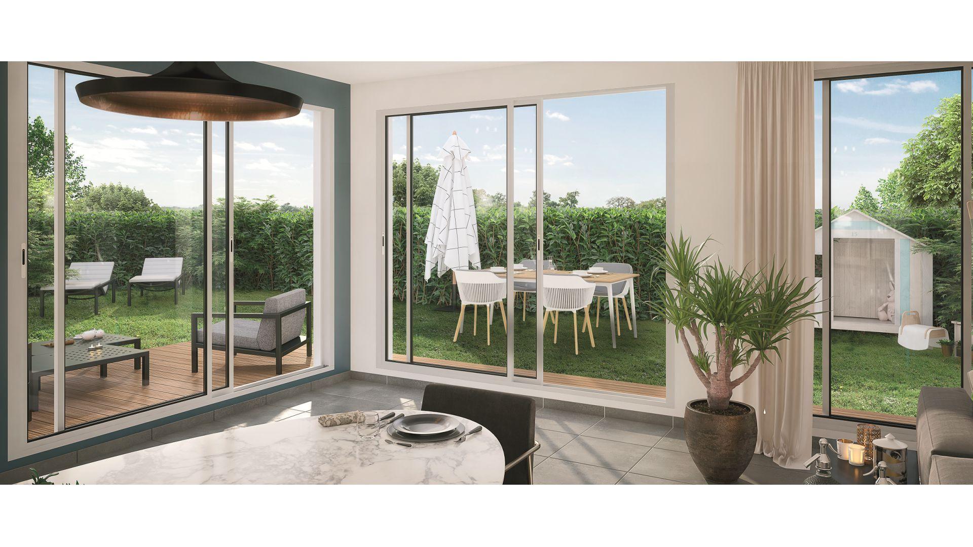Greencity Immobilier - Villas Valéria - 31320 Auzeville - Villas neuves T6 - appartements neufs T2-T3 - intérieur villa terrasse